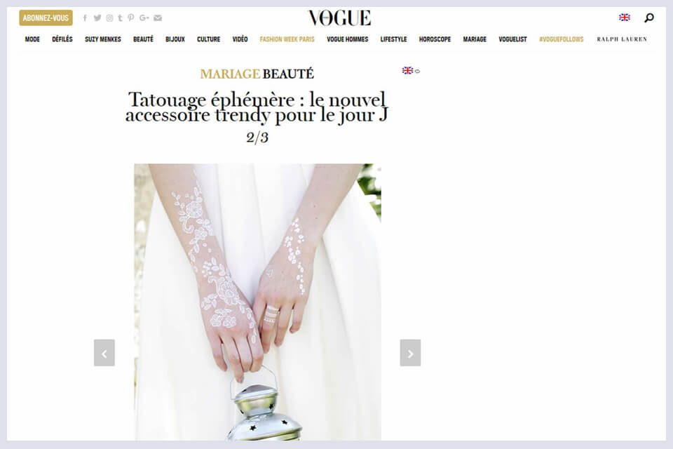 Parution Vogue Magazine en ligne