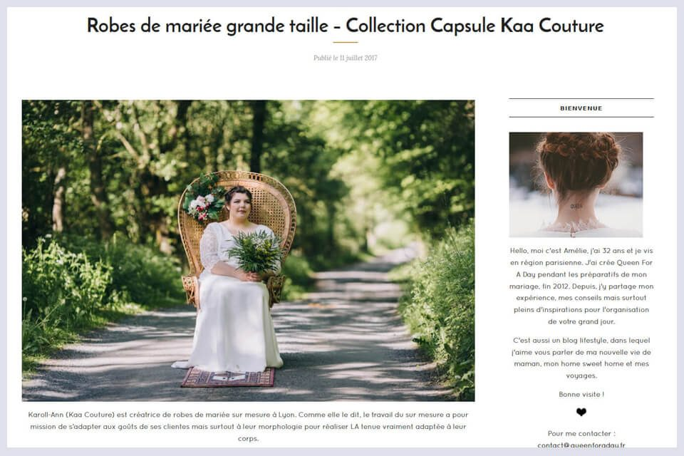 Queen for a day et la collection grande taille