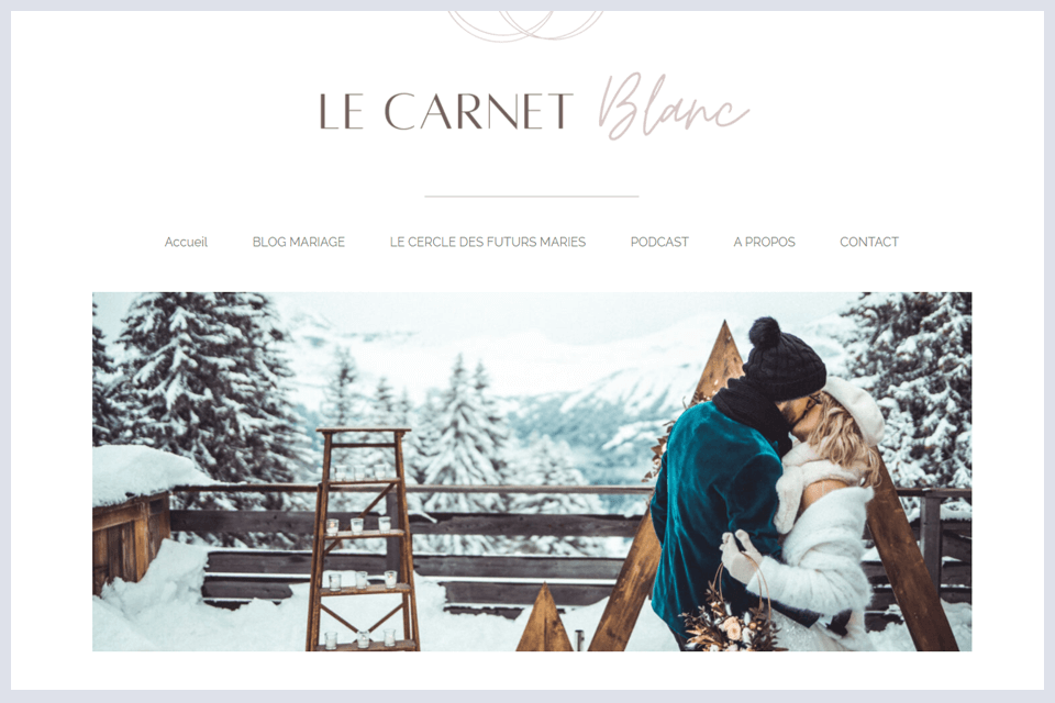 carnet blanc mariage hiver pull mariee neige